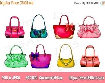 50% OFF Handbag Clipart, Purse Clipart, Clip art, Designer Bags, Fashion, Scrapbooking, Party Invitations, Graphics, PNG JPEG, Download