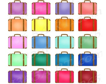 50% OFF Suitcases Clipart, Travel Luggage Clip Art, Briefcase Clipart, Digital Suitcases, Planner Clipart Stickers, PNG, Commercial