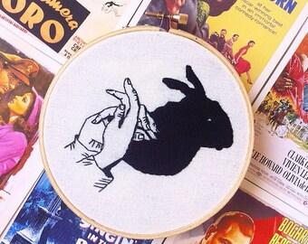 Shadow bunny wall decor/shadow hands wall decor/shadow puppet embroidery