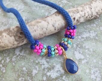 Rope Necklace,Blue Necklace, Hippie Necklace, Colorblock necklace,Statement Necklace, Choker necklace, Short necklace