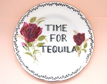 Time for Tequila Vintage Floral Saucer Decorative Alcohol Humor Ornamental Dish Bone China Display Kitchen Decoration Funny Gag Gift Plate