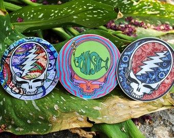 Weatherproof & Waterproof Grateful Dead Phish Steal Your Face Stickers // Vinyl Stealie Stickers // 3 inch Diameter