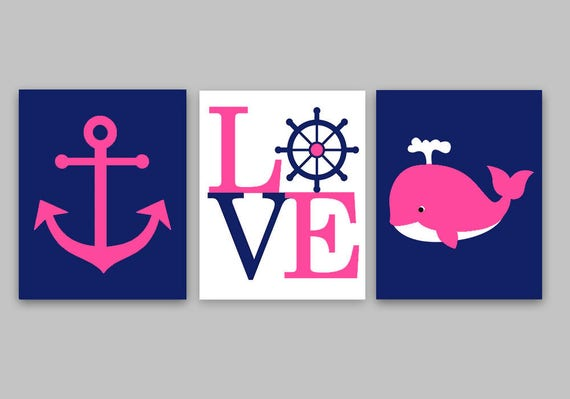Nautical nursery baby girl decor girl nautical decor anchor for Anchor decoration runescape