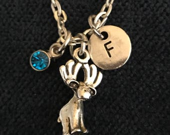 Moose Initial Necklace Moose Initial Jewelry