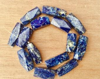 Beads - Set of 14 beads - lapis-lazuli tube beads - Afghani lapis beads - ethnic jewelry - blue stones - Anticsethnics -