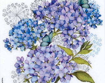 Decoupage Paper Napkins | Blue Hydrangeas and Butterfly | Hydrangea Napkins | Blue Napkins | Floral Napkins | Paper Napkins for Decoupage