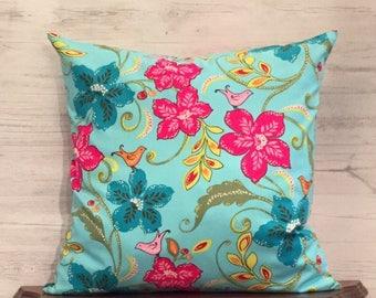 Blue Floral Pillow Cover - Blue Accent Pillow - Tropical Pillow - Blue Patio Pillow - Pink Floral Pillow - Floral Accent Pillow - 18x18