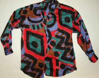 1980s 80s BOLD SILK Blouse / Colorful Abstract Print / Boxy Fit / fits S - M