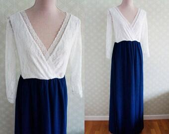 White Lace Vintage Maxi dress 70s. Party Vintage Maxi dress. Medium color block dress.