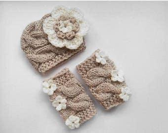 ON SALE 20% DISCOUNT Newborn Outfit Girls -  Baby Girl Hat and Leg Warmers-Newborn Baby Girl -Photography Photo Prop Set -Newborn Leg Warmer
