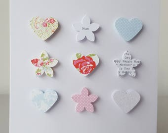 Handmade Personalised Mother's Day card - Hearts and flowers - pretty vintage design