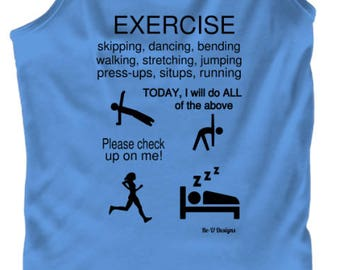 Exercise Themed Vest - with examples of exercise routines