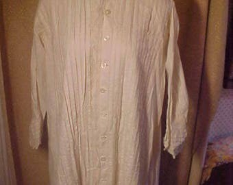 Antique white  Cotton Nightgown, Front is all pleated, buttons down front.Missing 10 , Trimed with lace  3129