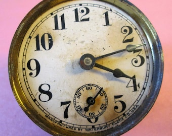 """Small 2"""" Antique Partial Waterbury Clock for Repairs - Steampunk Art - Crafts"""