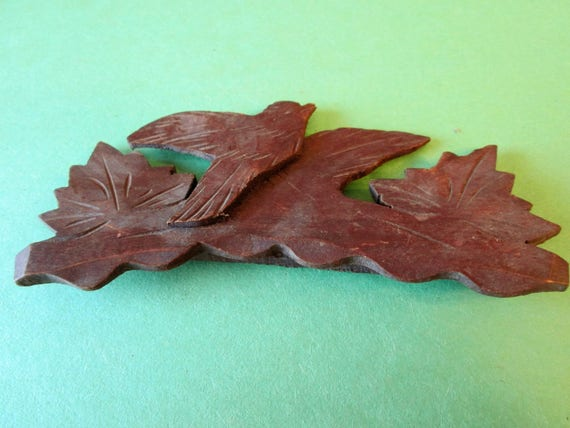 Small Bird and Maple Leaf Design Wood Cuckoo Clock Ornament for your Clock Projects - Steampunk Art