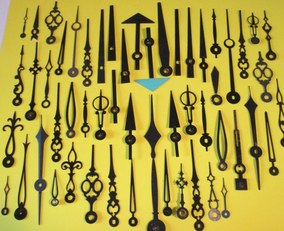 55 Assorted Vintage Black Clock Hands for your Clock Projects, Steampunk Art, Jewelry Making and etc...