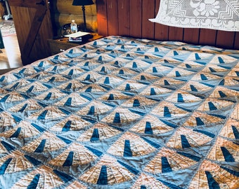 no. 5003 fan quilt in pinks and blues