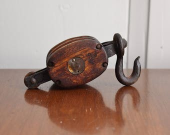 Antique Pulley, 1800s Barn Pulley, Wood and Iron Double Rope Pulley, Block and Tackle, Nautical Industrial Farmhouse Bookend, Rustic Patina