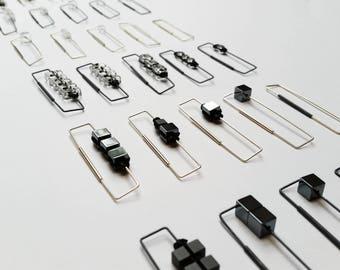 cube + silver | @tanyadasilvastudio | mix + match rectangular macramé earrings | hematite/glass + recycled silver + waxed thread