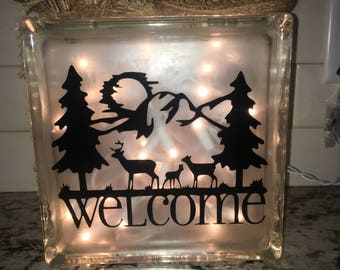 Welcome Deer Scene Lighted Glass Block