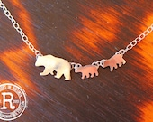 Custom Listing for Renee Momma Bear and Cubs Silhouette Necklace (Sterling)
