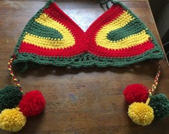 Crochet Rasta Bikini Top w/ Detachable Tassels