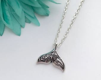 Whale tail  necklace -  pretty whale tail with chain necklace - fun necklace - silver necklace with lobster clasp - great gift - comes wrap
