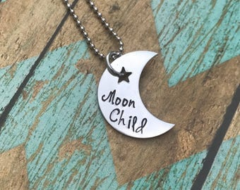 moon child necklace - moon lover-  hand stamped pendant - moon  - great gift - moon gift - free spirt