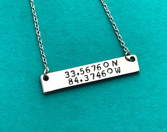 Coordinate silver bar necklace, personalized necklace , hand stamped necklace, silver  necklace gift, wedding, christmas, mother's day, grad