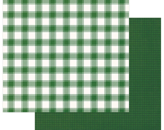 2 Sheets of Photo Play Paper MAD 4 PLAID CHRISTMAS 12x12 Scrapbook Cardstock - Buffalo Check Green/White