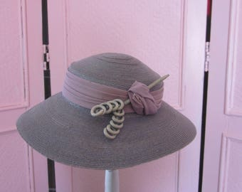 1940s Lavender Straw Hat with Embellishment