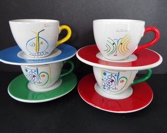 set of 4 Succession 1996 Picasso Masterpiece Edition Demitasse cups saucers teacup