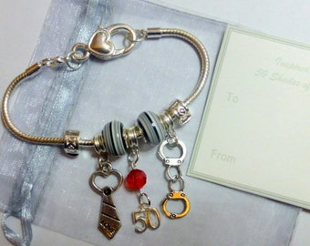 Inspired by 50 Fifty Shades of Grey 21 cm Silver Plated Bracelet with Charms Mask Tie Handcuffs + Gift Card & gift Bag