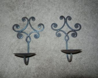 Two Black Wrought Iron Wall Sconces - Candle Holders - Exterior Sconces