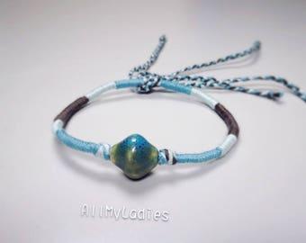 Cotton wire, ceramic, dark blue grey white Blue Bead Bracelet