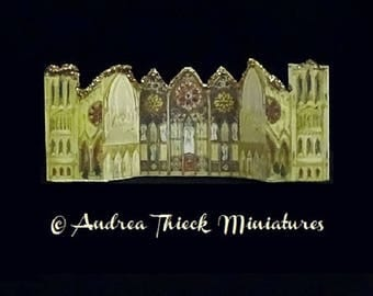 Miniature Glittered  Christmas Paper Cathedral   1/12 scale - choose one
