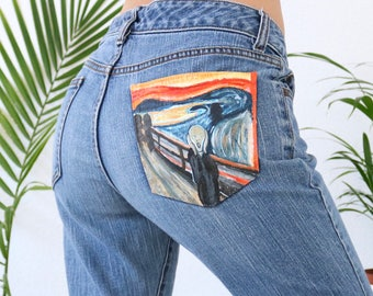 Hand painted jeans- The Scream by Edvard Munch