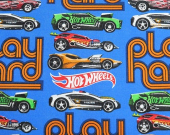 Hot Wheels Play Hard Car Racing Blue David Textiles Fabric #562 By the Yard