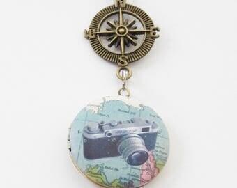 Photographer Ornament, Camera Ornament, Camera Christmas Ornament, Travel Ornament, Locket Christmas Ornament, World Locket Ornament, Wander
