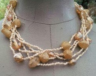 1970s long seastone necklace multi beaded vintage can be worn long or wrapped around