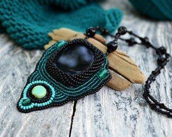 Emerald necklace Bead Embroidery Black emerald green necklace Ethnic Embroidered pendant Beaded Black Agate pendant Beadwork Tribal necklace