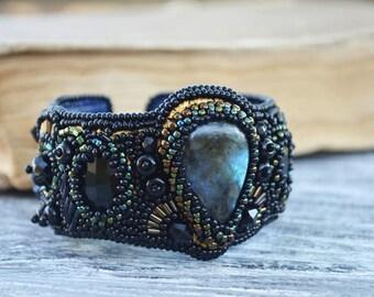 Labradorite cuff bracelet Black Cuff bracelet Hand beaded bracelet Bead Embroidered cuff Embroidery jewelry Labradorite jewelry gift for her