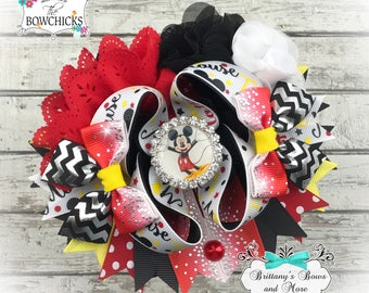 OTT Hair Bow ~ Take me to the Mouse - Over the Top ~  Stacked Boutique Bow