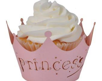 12 pink princess cupcake wrappers cupcake wrapper, princess party theme.