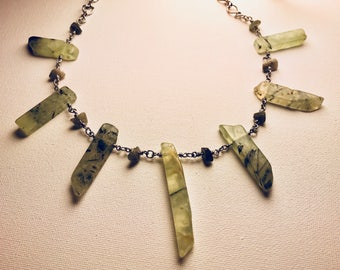 Seven Pendant Heart Chakra Necklace made from Prehnite and Labradorite
