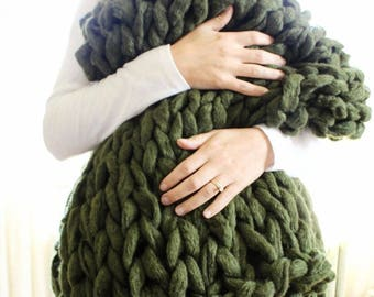 """FlASH SALE! // Chunky Knit Blanket // Chunky Knit Throw //  36"""" x 55"""" // Olive // Simply Maggie"""