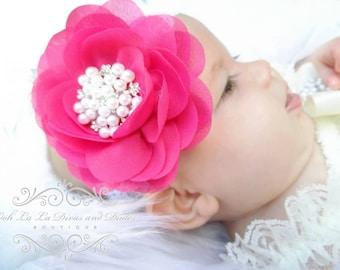 Shocking Pink Headband/Baby Headband/Baby Headbands and Bow/Infant Headband/Baby Girl Headband/Girl Headband Baby/Christening Dress/Baby