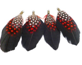 """Black/White and red Dots Feathers charm_PA002487/65147_Black feathers charm of 70 mm / 2,75""""_ pack 4 pcs"""