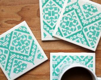 Coasters - Drink Coasters - Tile Coasters - Ceramic Coasters - Teal Coasters - Ceramic Tile Coasters - Coaster Set - Table Coasters
