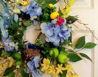 Spring door wreath hydrangea,Handmade wreath, Free Shipping Wreath,Unique wreath,Spring Door Wreath,Spring Wreath